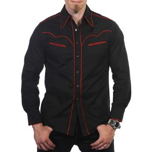 Black Cowboy Style Shirt with Red Piping