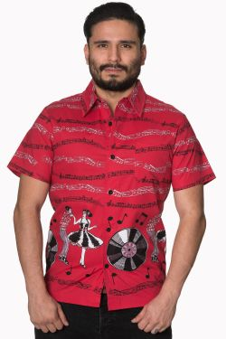 Music Note Red Shirt at Raucous Records