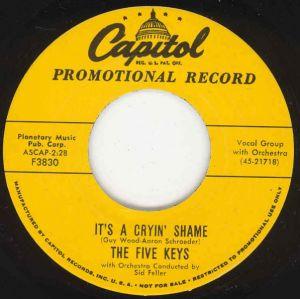 Five Keys It's A Cryin' Shame You're For Me single vinyl
